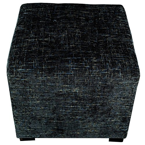 MJL Furniture Designs Merton Collection, Fabric Upholstered Modern Cube Foot Rest Ottoman with 4 Button Tufting, Atlas Series, Midnight by MJL Furniture Designs