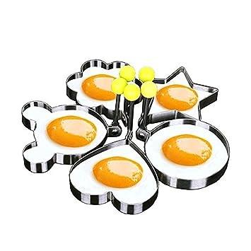 Rainbow Love cocina Gadget herramienta acero inoxidable Pancake antiadherente molde para la cocina huevo frito Shaper Anillo, juego de 5: Amazon.es: Hogar