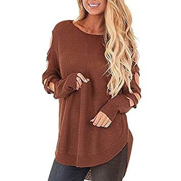 Fuxitoggo Suéter de Punto para Mujer Cuello Redondo Manga Larga Hueco Suelto Jersey Jumper (Color : Café, tamaño : S): Amazon.es: Hogar