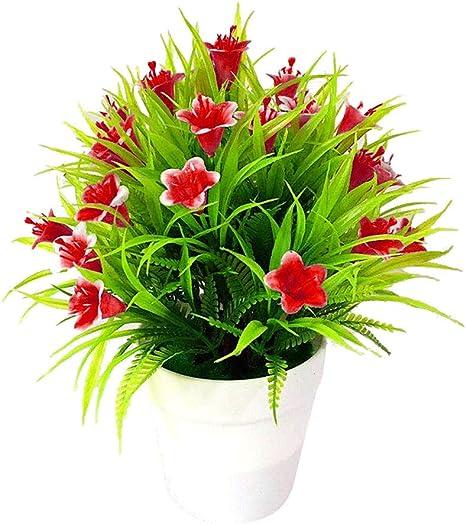Amazon Com Helegesong Flower Supplies Wholesale 1pc Artificial Flower Leaves Pot Bonsai Living Room Garden Desk Furniture Decor Red Home Kitchen