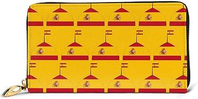 First Ring Monedero España Logo Bandera Carteras Para Hombres Mujeres Largo Cuero Chequera Titular de la tarjeta Monedero Cremallera Hebilla Elegante Embrague Señoras Monedero,: Amazon.es: Ropa y accesorios