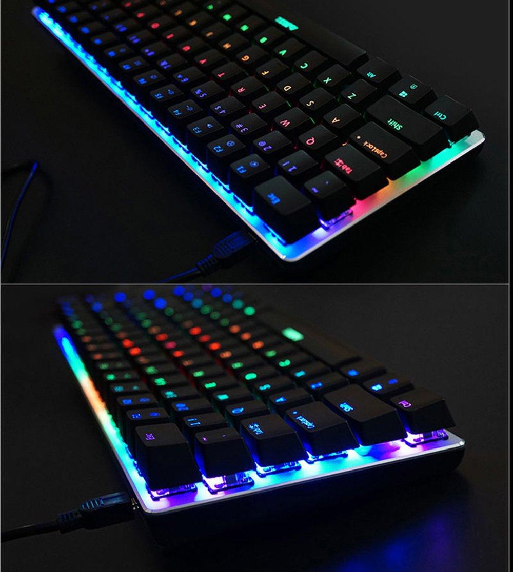 Teclado mec/ánico AK33 de Lexon tech teclado para juegos con cable USB con retroiluminaci/ón LED azul interruptores azul negro mecan/ógrafos y jugadores de juegos teclado compactos de 82 teclas