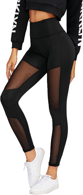 Auxo Femme Pantalon Yoga Taille Haute Pantalon de Sports Maille Leggings Athl/étisme Elastique Pants