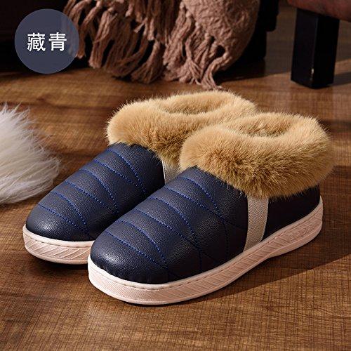 DogHaccd pantofole,Inverno pelle pu alta per aiutare uomini e donne rimanere impermeabile home paio di pantofole di cotone confezione con spesse, antiscivolo indoor scarpe di cotone,Blu scuro40-41
