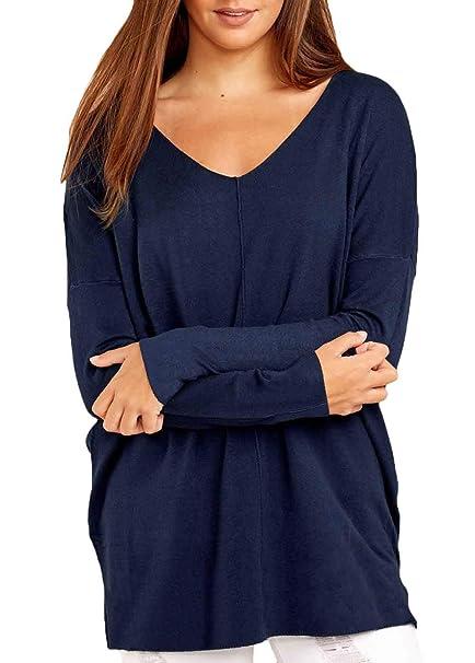 9c9e14dc68bb2 Femme T-Shirts Ourlet Fourcher Haut Printemps Top Unicolore Automne Manches  Longues Rond Col Spécial