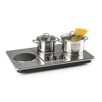 Klarstein Potzblitz Placa de cocina • 3300 W• 3 fogones de cocción independientes • Para recipientes de 15 a 18 cm • Regulación continua • ...