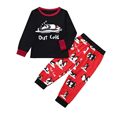 029a640cb Amazon.com: Christmas Family Pajamas Mommy &Daddy&Me Cotton Letter Printed  Tops+Penguin Pants Sleepwear Matching PJ Set: Clothing