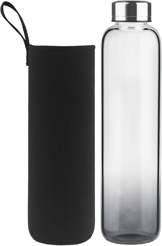 DEARRAY Botella de Agua de Cristal de Borosilicato Deportivo 500ml / 1000ml / 1 Litro, Botella de Agua de Vidrio con Funda de Neopreno y Elegante Tapa de Acero Inoxidable