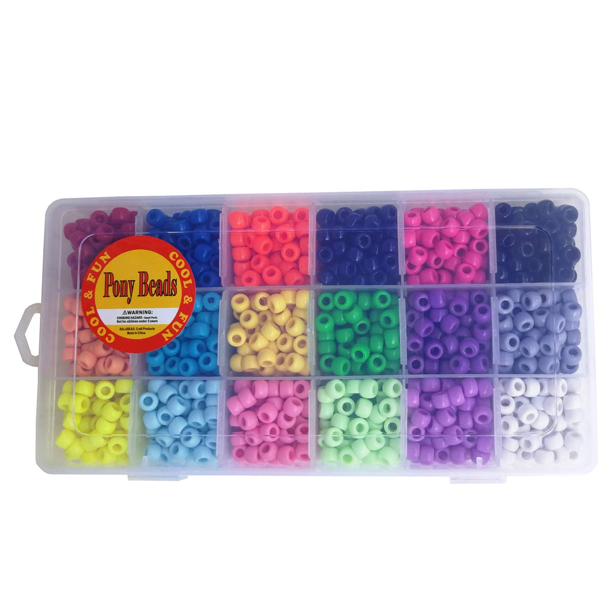 Pony Beads with Smooth Surface Craft Assortment Colors 6X 9mm//18colors//1800 Beads The Beadery Giant Crayon Bead Box
