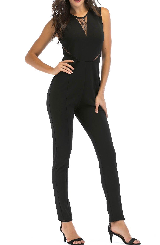 SUNNOW Womens Black Sleeveless Evening Party Playsuit Ladies Lace Long Jumpsuit (M=US 8-10, Black)