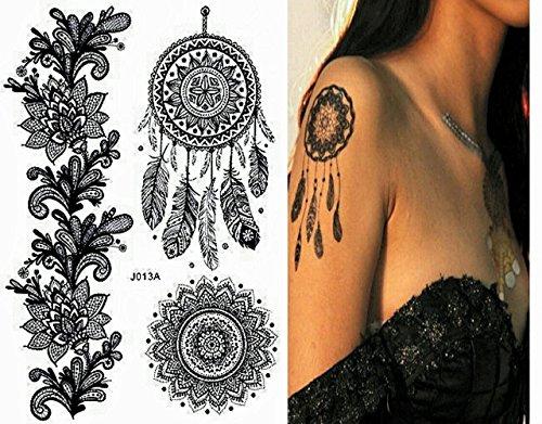 Pinkiou henna tattoo stickers lace mehndi temporary for Black temporary tattoo