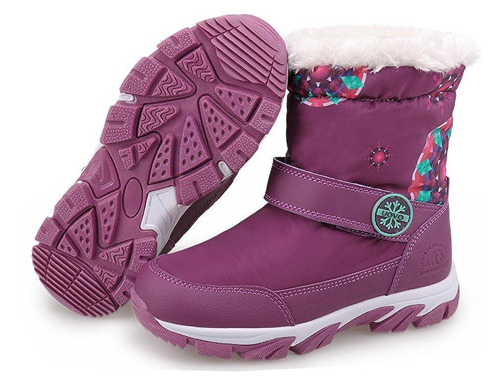 Little Kid//Big Kid iDuoDuo Boys Girls Strap Tennis Shoes Style Warm Snow Boots Waterproof Winter Boots