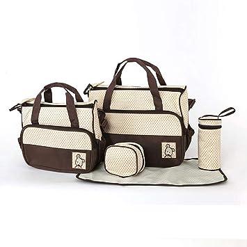 0d36d264c9 Amazon.com : 5 Pcs Baby Nappy Changing Bags Set, Large Handbag Diaper  Changing Mat Bottle Holder(Coffee) : Baby