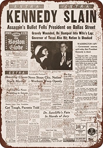 Best-selling 1963 Kennedy Slain Headline Vintage Look Reproduction Metal Tin Sign 8X12 Inches