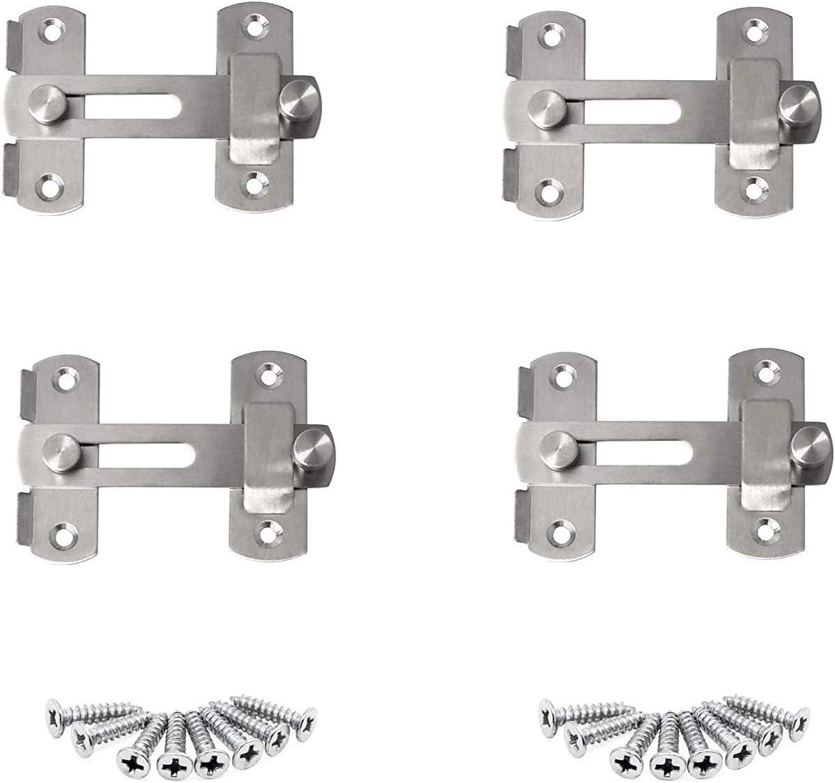 4 Pcs Cerradura de puerta resistente de acero inoxidable con pestillo abatible Con tornillos de fijación,superficie de acero inoxidable cepillado