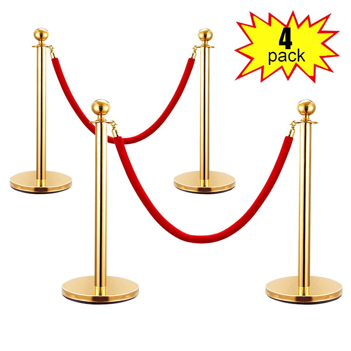 JAXPETY 2 Sets Round Top Polished Brass Stanchion Posts Queue Barrier, Pack of 4 Posts with Red Velvet Ropes,Gold