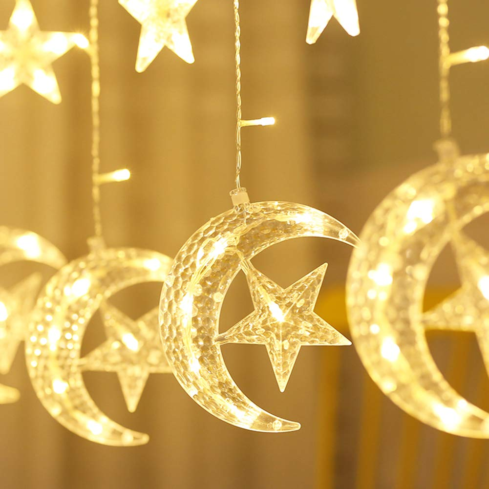 Twinkle Star 138 LED Star Moon Curtain String Lights,Window Curtain Lights with 8 Flashing Modes Decoration for Wedding,Party,Home,Patio Lawn,Warm White by Twinkle Star (Image #3)