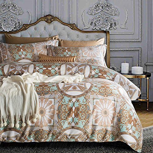 Damask Medallion Luxury Duvet Quilt Cover Boho Paisley Print Bedding Set 400 Thread Count Egyptian Cotton Sateen Vibrant Bohemian Pattern (Queen, Aqua Tan)