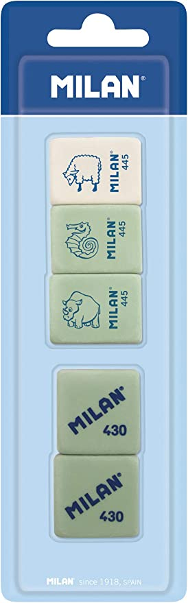 Milan BMM97011 - Pack de 5 gomas de borrar: Amazon.es: Hogar