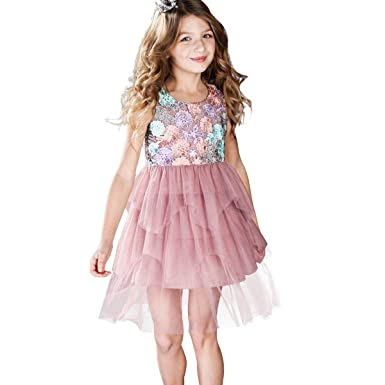 4386ddf4aa2e0a CNMUDONSI Lace Cute Princess Dresses for Girls Pink Summer Party Dress Size  5-10 Years