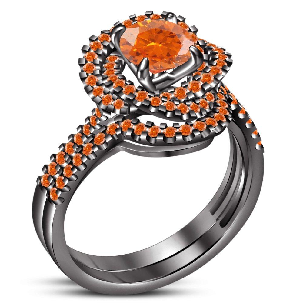 TVS-JEWELS Wedding Engagement Round Cut Orange Sapphire Stone Black Plated Sterling Silver Ring Set (7.75)
