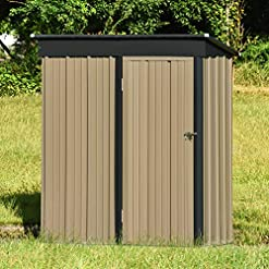 Garden and Outdoor 5′ x 3′ Outdoor Storage Shed, Steel Utility Tool Storage House With Inclined Roof,Lockable Door,for Backyard Garden… outdoor storage sheds