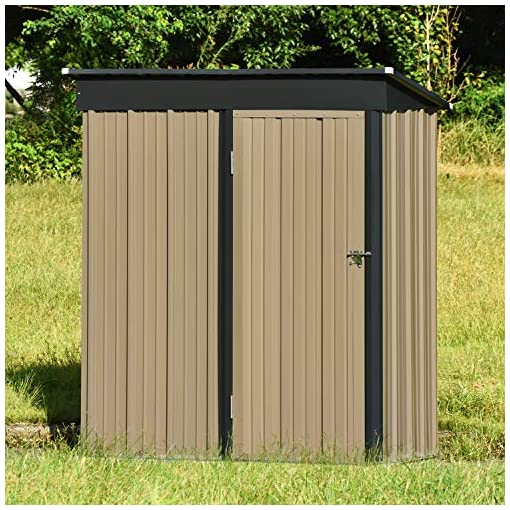 Garden and Outdoor 5′ x 3′ Outdoor Metal Storage Shed, Utility Steel Tool Storage House with Lockable Door & Inclined Roof, for Backyard… outdoor storage sheds