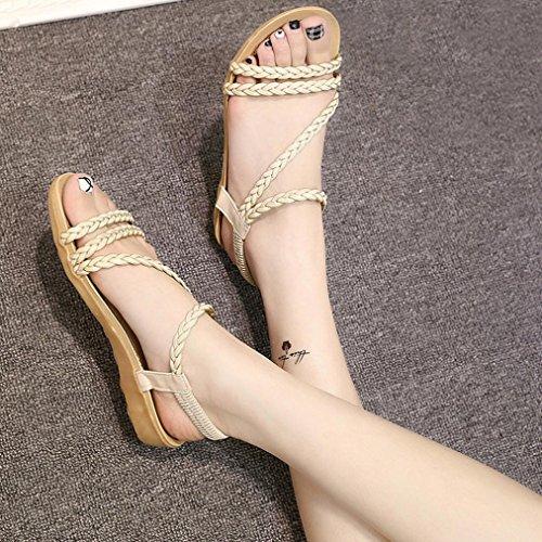 Fulltime® Été Chaussures Plates Maison Beige Femmes Weave Sandales Plage xr1zwxtqd