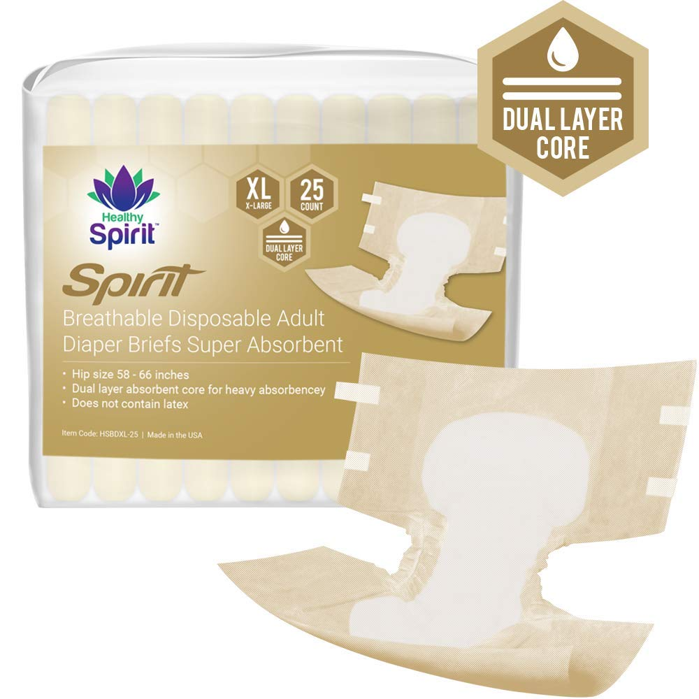 f7aa52b17 Amazon.com  Healthy Spirit Breathable Disposable Adult Diaper Briefs for  Incontinence Super Absorbent with Tabs