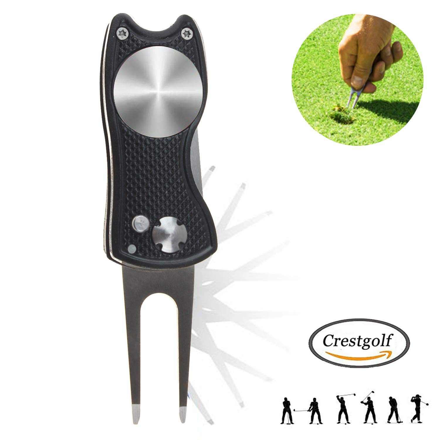 Crestgolf Switchblade Golf Divot Tool Golf Green Reparación Pitch Fork