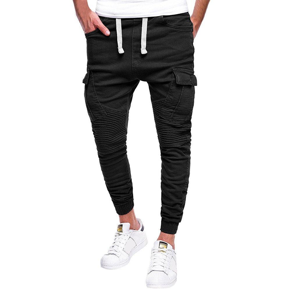 Mens Twill Jogger Pants, Men's Athletic-Fit Cargo Pant, Men's Drawstring Classic Joggers Pants Sport Sweat Pants (Black A, M)