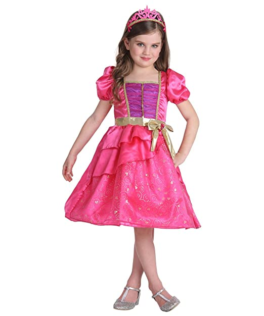 JFEELE Fairy Girls Pink Princess Dress With Crown Set (8T - 10T)