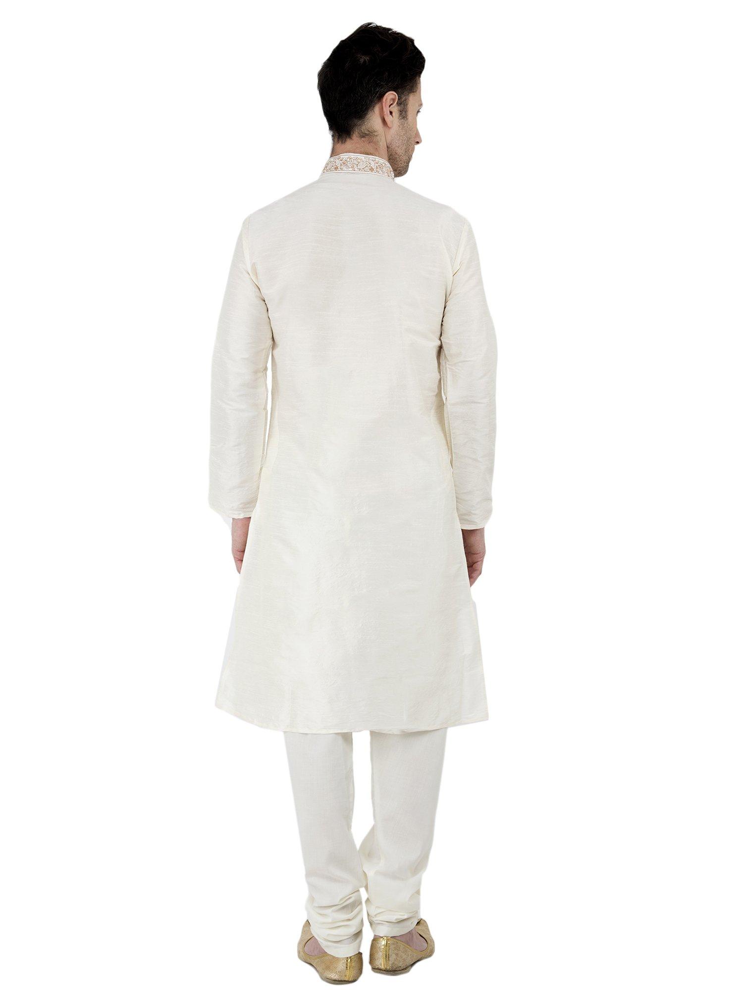 Long Sleeve Button Down Shirt Mens Kurta Pajamas Set Handmade Traditional Indian Costume Offwhite -M by SKAVIJ (Image #4)
