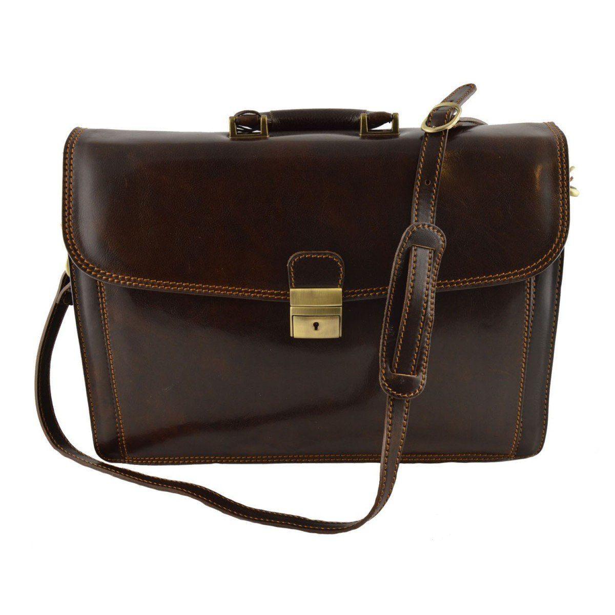 Made In Italy Leather Briefcase Color Dark Brown - Business Bag   B014T6HM3S