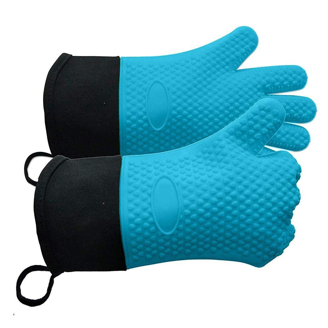 Yealsha Silicone Oven Mitts, Non-Slip Heat Resistant BBQ Cooking Gloves for Kitchen