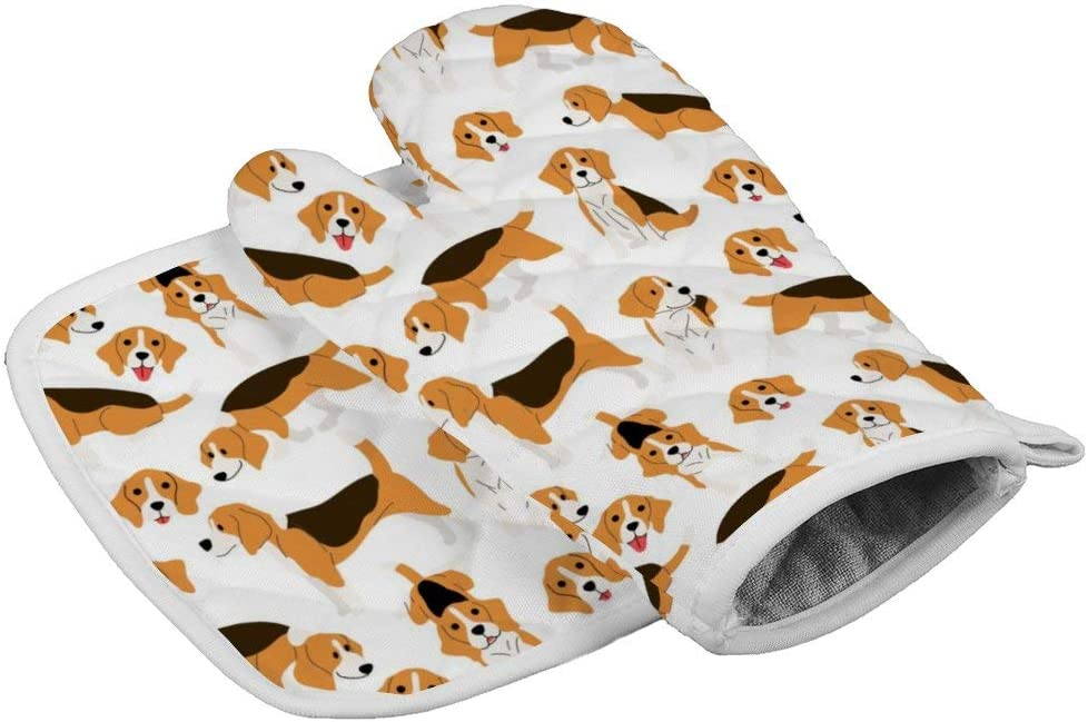Beagle Dog Neoprene Oven Mitts Square mat, Heat Resistant Oven Gloves to Protect Hands and Surfaces with Non-Slip Grip