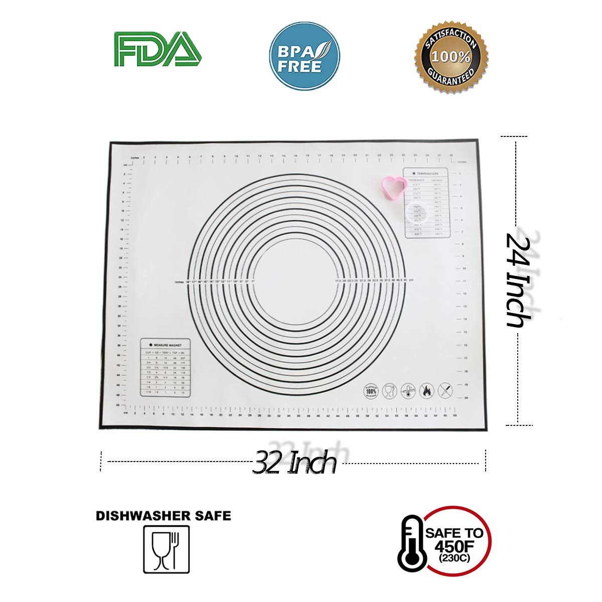 XXXL Size Silicone Baking Mat(32x 24 Inch) Pastry Mat with Measurements Non-slip& Non-Stick Reusable Rolling Mat with two free cookie cutters, BPA Free and Heat Resistant - Ideal for Rolling Dough by AUDIOFINA (Image #2)