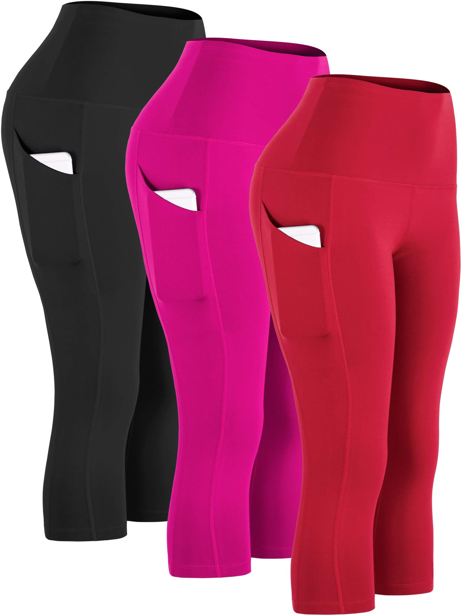 Cadmus Womens High Waist Workout Legging Capris for Yoga w Side Pockets,1109,Black & Rose Red & Red,Small by Cadmus