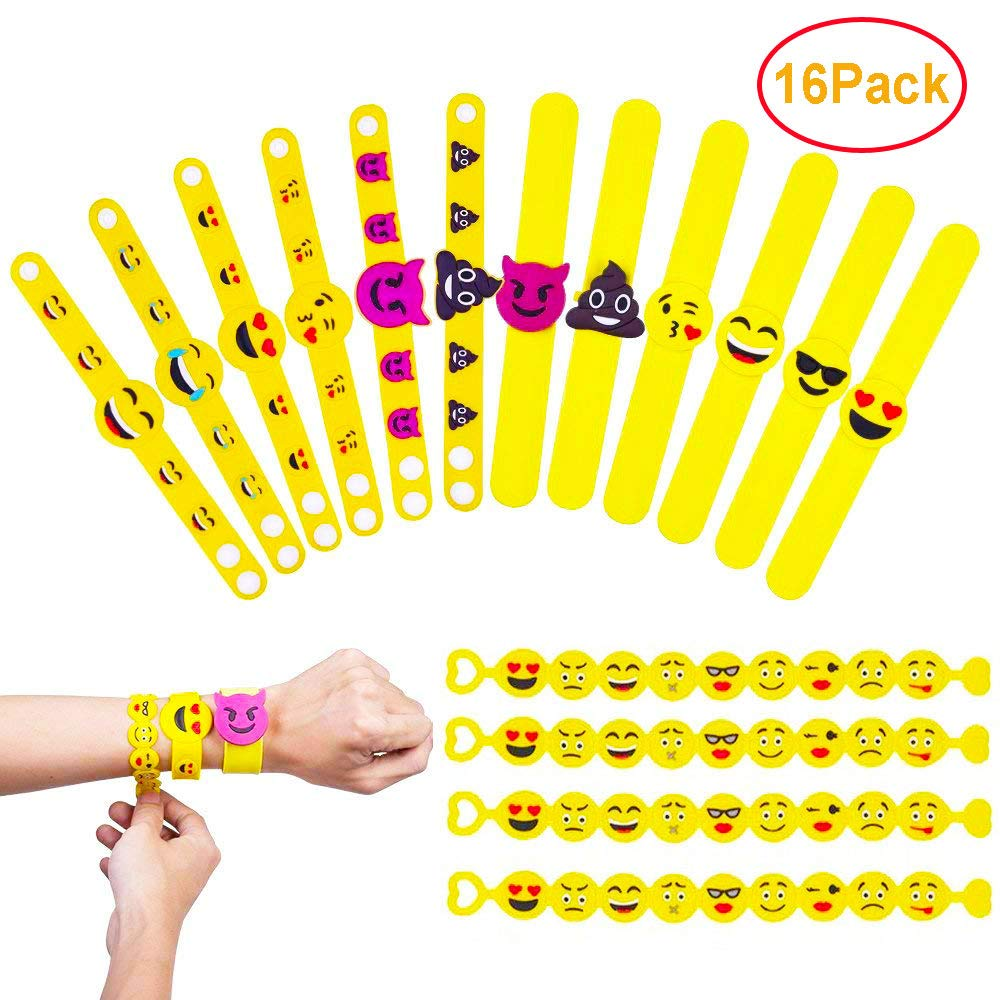 Emoji Rubber Bracelet QMY Novelty Wristband Toy for Kids Party Bag Fillers Decorations Supplies Christmas Funny Gifts 18 Pack in 3 Style QMAY
