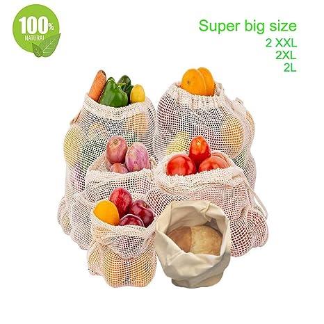 GIMA Magi - Bolsas de Verduras Reutilizables de algodón, Bolsas de Frutas y Verduras, Bolsas de Malla Transpirable, algodón Natural, 6 Unidades – 2 x ...