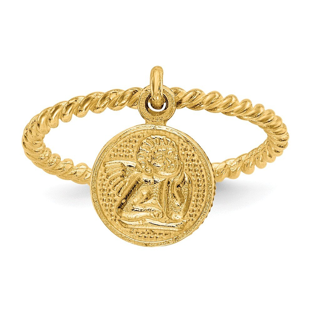 14k Yellow Gold Polished Angel Dangle Charm Childs Ring