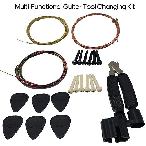 JJmooer Kit de cambio de herramientas de guitarra Cuerdas de ...