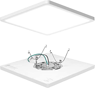 Avanlo Super Slim 0 6 Inch Thickness 12 Inch Led Ceiling Light Fixture 120v 5000k 1680lm 24w 150w Equivalent Dimmable Square For 3 5 4 Junction Box 5 6 Housing Surface Mount 1 Pack Amazon Com