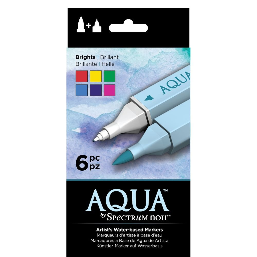 Spectrum schwarz Aqua Water Based Marker Art Craft Marker Pens - Brights 6 Pack