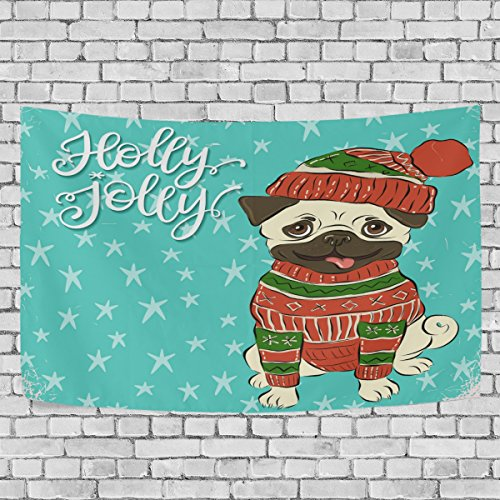 (Sunlome Home Decor, Christmas Happy Winter Pug Dog Wearing The Knitted Sweater Tapestry Wall Decor Art for Living Room Bedroom Decoration 80 X 60 Inches)