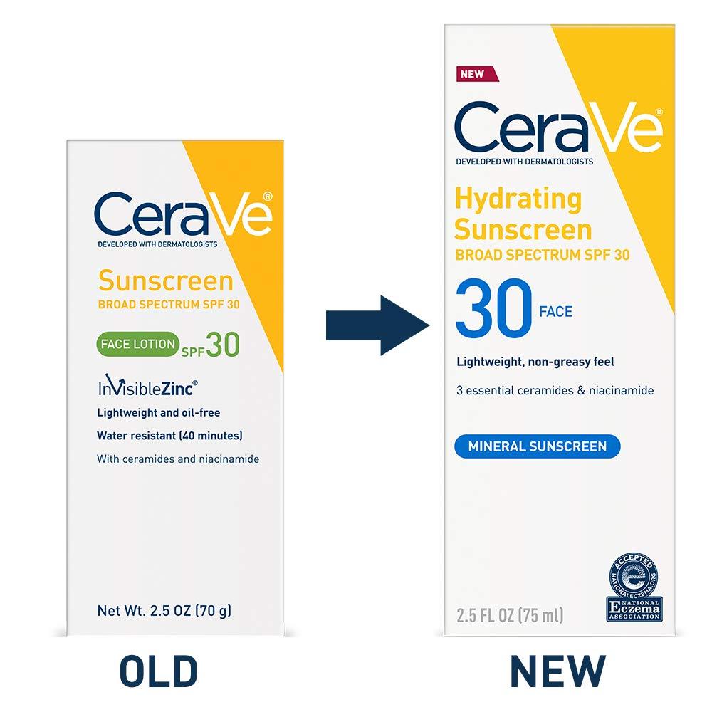 CeraVe Sun Protection, SPF 30 Sunscreen Face Lotion, 2.5 Ounce