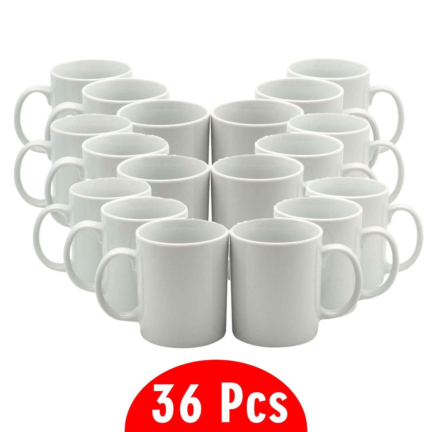 11 oz Sublimation Blank Ceramic Coffee Mugs Case of 36 by TWISTED ENVY