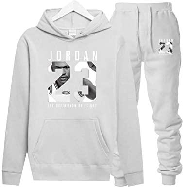 Jordan Hoodies Jordan 23 Sportwear Sets Male Sweatshirts Men Set Clothing+Pants White