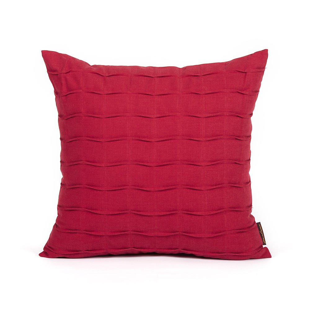"20"" X 20"" Solid Red Hand Crafted Pintuck Accent Throw Pillow Cover"