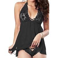 RZS Women's Sexy Lingerie Soft Sleepwear Set Halter Dress Comfortable Nightwear